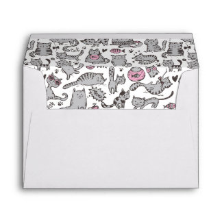 Whimiscal Pink and Gray Cartoon Cat Gift Ideas Envelope