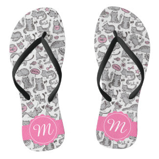 Whimiscal Pink and Gray Cartoon Cat Gift Ideas Flip Flops