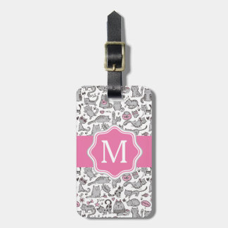 Whimiscal Pink and Gray Cartoon Cat Gift Ideas Luggage Tag