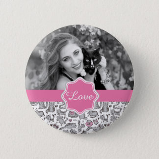 Whimiscal Pink and Gray Cartoon Cat Gift Ideas Pinback Button