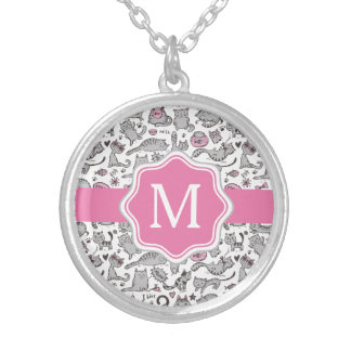 Whimiscal Pink and Gray Cartoon Cat Gift Ideas Silver Plated Necklace