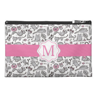 Whimiscal Pink and Gray Cartoon Cat Gift Ideas Travel Accessory Bag
