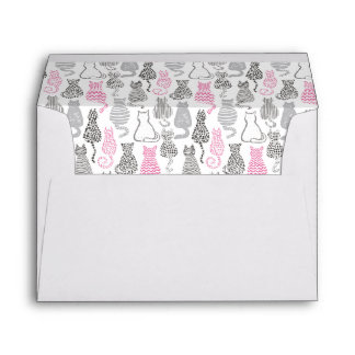 Whimiscal Pink and Gray Sketch Cat Gift Ideas Envelope