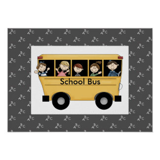 Whimiscal School Bus with Kids Poster Print