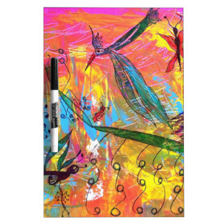Whimisical Birds and Bugs Art Painting Dry-Erase Whiteboards