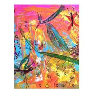 Whimisical Birds and Bugs Art Painting Letterhead