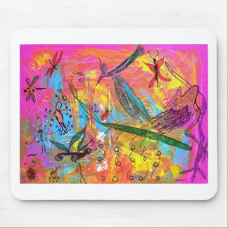 Whimisical Birds and Bugs Art Painting Mouse Pad