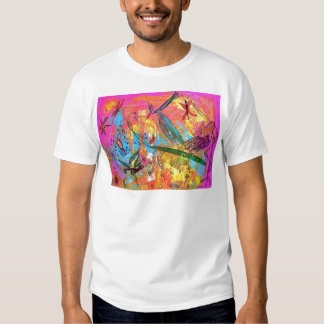 Whimisical Birds and Bugs Art Painting Shirt