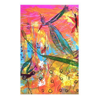 Whimisical Birds and Bugs Art Painting Stationery Paper