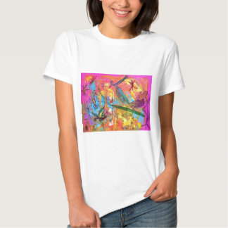 Whimisical Birds and Bugs Art Painting T-shirt