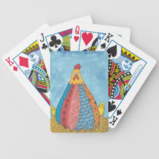 Whimisical Fat Hen and Chicks Bicycle Playing Cards