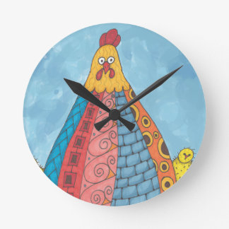 Whimisical Fat Hen and Chicks Round Clock