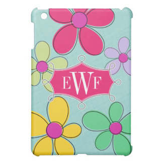 Whimscal Floral Doodle Frame Monogram iPad Mini Cover