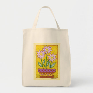 Whimscal Flowers in Flower Pot Grocery Tote Bag
