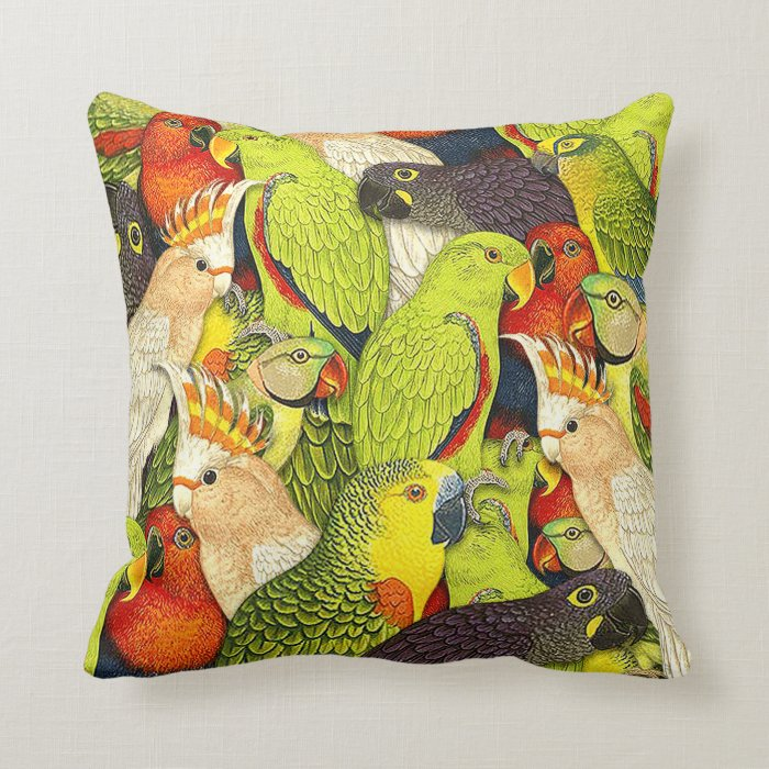 Whimscal Nature Green Parrots Birds Pattern Throw Pillow Zazzle