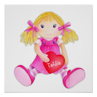 Whimscal rag doll girls add your name nursery art poster