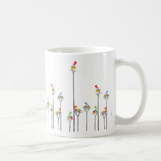 Whimscal Tweet Birds & Colorful Dotted Trees Mug
