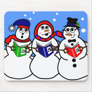 Whimscial Holiday Cartoon Snowman Singing Group Mouse Pad