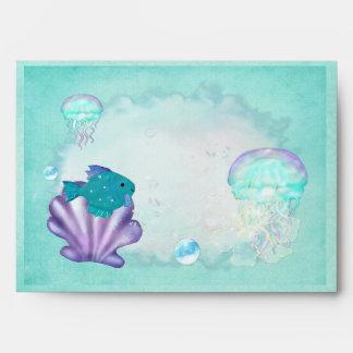 Whimsey Aquarium 2 Folk Art BABY SHOWER Envelope