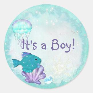 Whimsey Aquarium 2 Folk Art ITS A BOY GIRL Classic Round Sticker