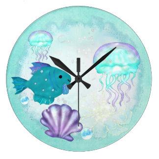 Whimsey Aquarium 2 Folk Art Large Clock