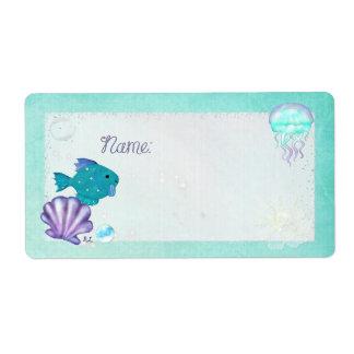 Whimsey Aquarium 2 Folk Art NAME TAGS PARTY Label