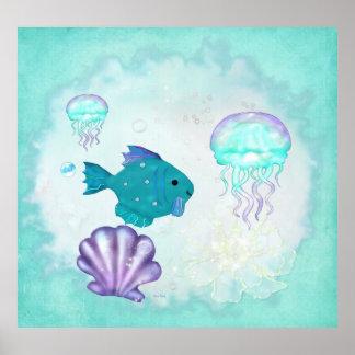 Whimsey Aquarium 2 Folk Art NURSERY PEDIATRICIAN Poster