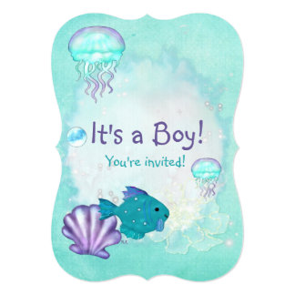 Whimsey Aquarium 2 ITS A BABY BOY GIRL SHOWER 5x7 Paper Invitation Card