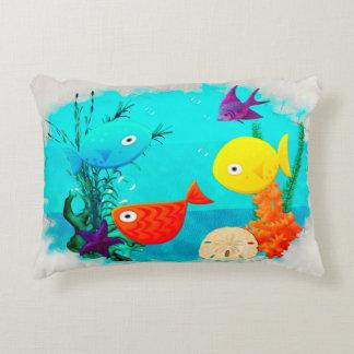 Whimsey Aquarium Cartoon Fish Accent Pillow