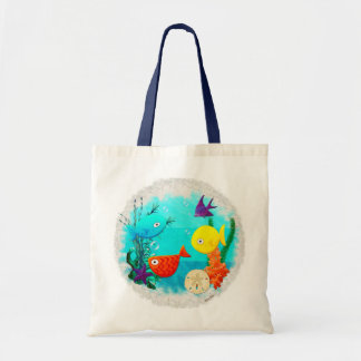 Whimsey Aquarium Cartoon Fish Childs to Teens Tote Bag
