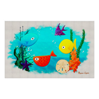 Whimsey Aquarium Cartoon Fish Poster