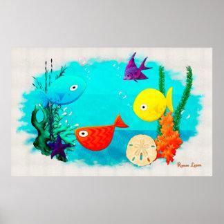 Whimsey Aquarium Cartoon Fish Poster