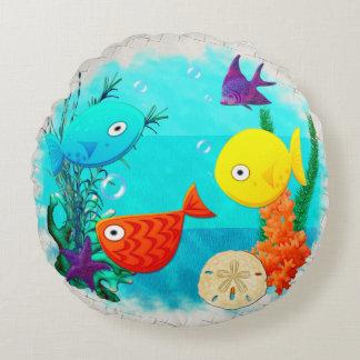 Whimsey Aquarium Cartoon Fish Round Pillow
