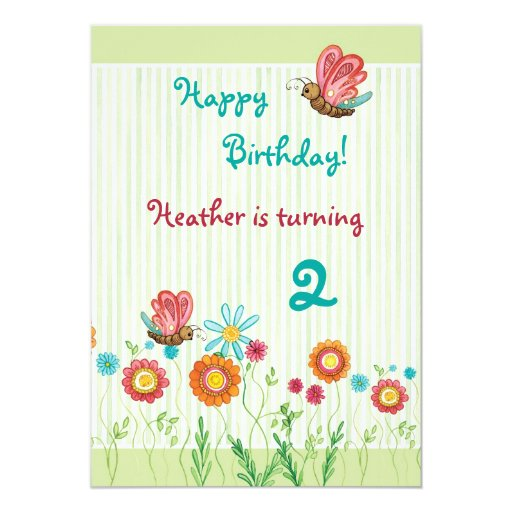 Whimsey Flowers Girl Birthday Party Invitation