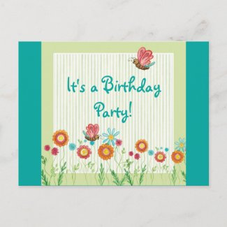Whimsey Flowers Girl Birthday Party Invitation postcard
