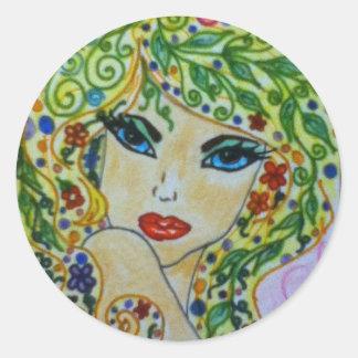 Whimsey Hair. Classic Round Sticker