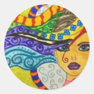 Whimsey Hair  Gal Classic Round Sticker