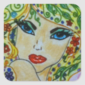 Whimsey Hair. Square Sticker