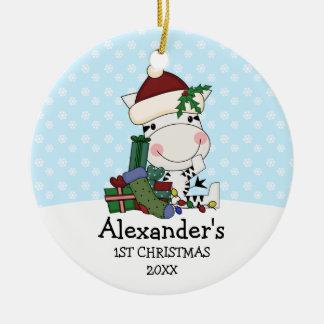Whimsical 1st Christmas Santa Zebra Personalized Ceramic Ornament