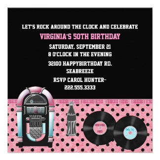 Whimsical 50 s Birthday Party Invitation