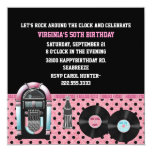 "Whimsical 50's Birthday Party Invitation 5.25"" Square Invitation Card"
