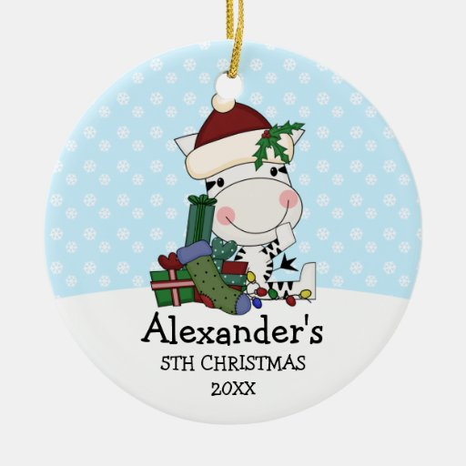 Whimsical 5th Christmas Santa Zebra Personalized Double-Sided Ceramic Round Christmas Ornament
