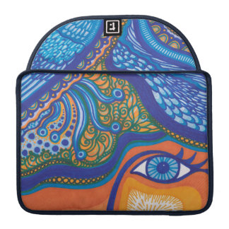 Whimsical Abstract Blue and Orange Sleeves For MacBook Pro