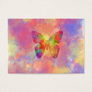 Whimsical Abstract Butterfly Rainbow Watercolor Business Card