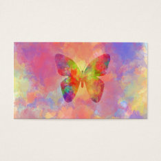 Whimsical Abstract Butterfly Rainbow Watercolor Business Card at Zazzle