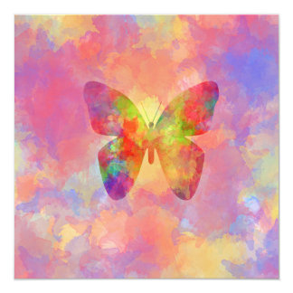 Whimsical Abstract Butterfly Rainbow Watercolor Card