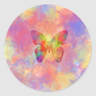 Whimsical Abstract Butterfly Rainbow Watercolor Classic Round Sticker