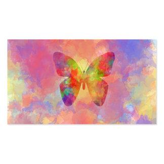 Whimsical Abstract Butterfly Rainbow Watercolor Double-Sided Standard Business Cards (Pack Of 100)