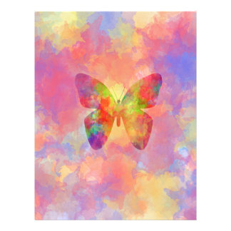 Whimsical Abstract Butterfly Rainbow Watercolor Custom Flyer