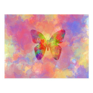 Whimsical Abstract Butterfly Rainbow Watercolor Postcard